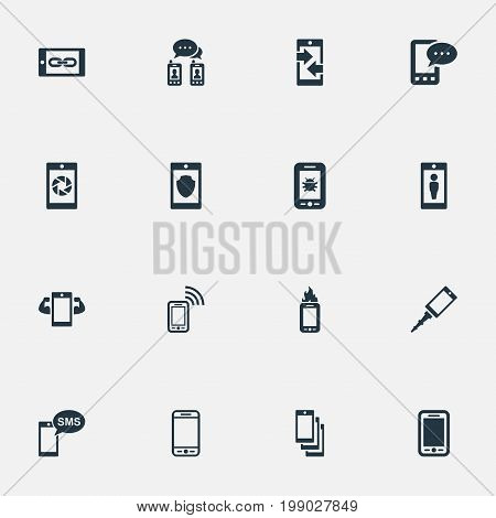 Elements Sms, Front Camera, Contact And Other Synonyms Casing, Upgrade And Smartphone.  Vector Illustration Set Of Simple Telephone Icons.