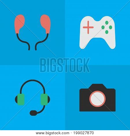Elements Photo Apparatus, Microphone, Gamepad And Other Synonyms Apparatus, Earphone And Camera.  Vector Illustration Set Of Simple Gadget Icons.