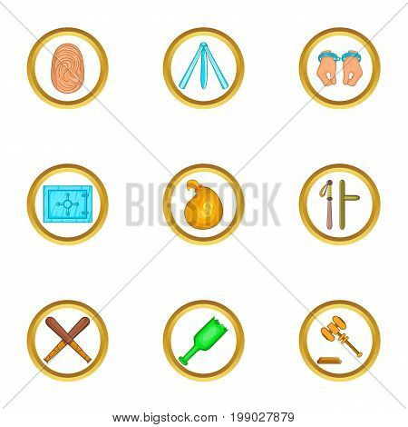 Court case icons set. Cartoon set of 9 court case vector icons for web isolated on white background