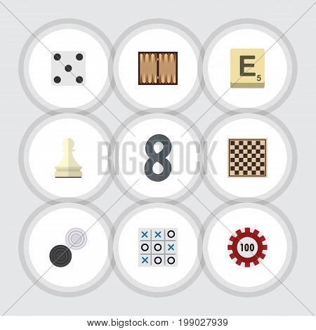 Flat Icon Games Set Of Chequer, Poker, Dice And Other Vector Objects