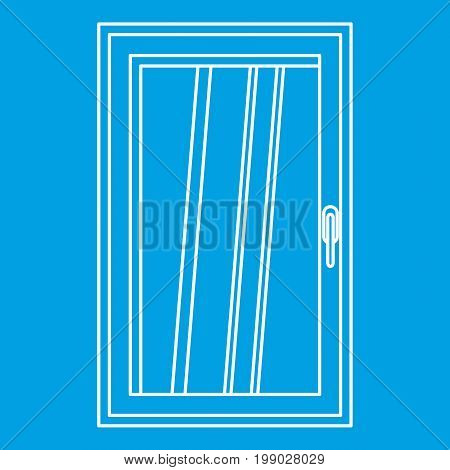 Closed white window icon blue outline style isolated vector illustration. Thin line sign