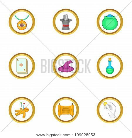 Wizard stuff icons set. Cartoon set of 9 wizard stuff vector icons for web isolated on white background