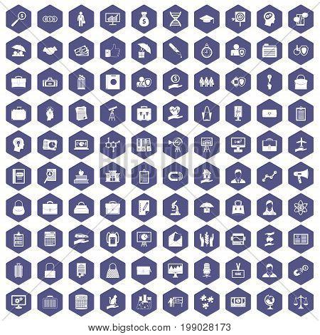 100 portfolio icons set in purple hexagon isolated vector illustration