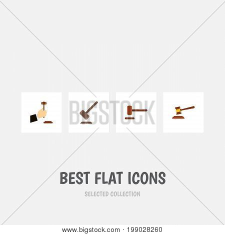 Flat Icon Lawyer Set Of Defense, Tribunal, Hammer And Other Vector Objects