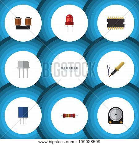 Flat Icon Technology Set Of Coil Copper, Recipient, Microprocessor And Other Vector Objects