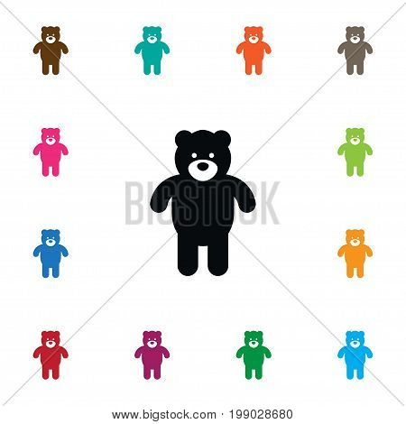 Plush Vector Element Can Be Used For Plush, Cuddly, Bear Design Concept.  Isolated Bear Icon. poster