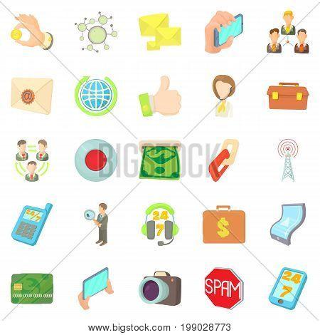 Application development icons set. Cartoon set of 25 application development vector icons for web isolated on white background