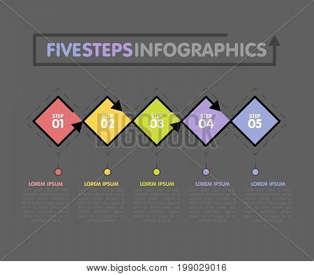 Business Infographics Template. Timeline With 5 Rhombus, Steps, Five Number Options. Vector