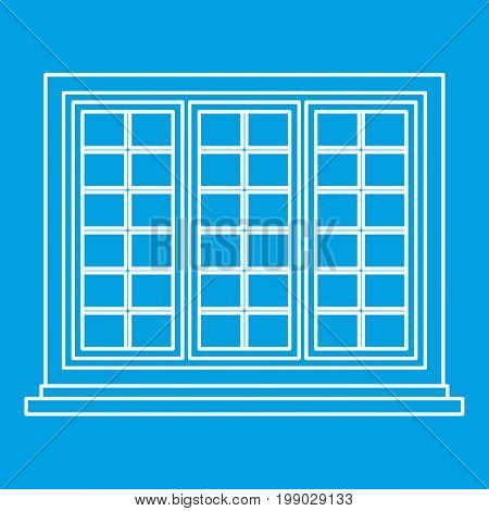 Wooden tricuspid window icon blue outline style isolated vector illustration. Thin line sign