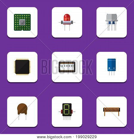 Flat Icon Device Set Of Unit, Resistor, Mainframe And Other Vector Objects