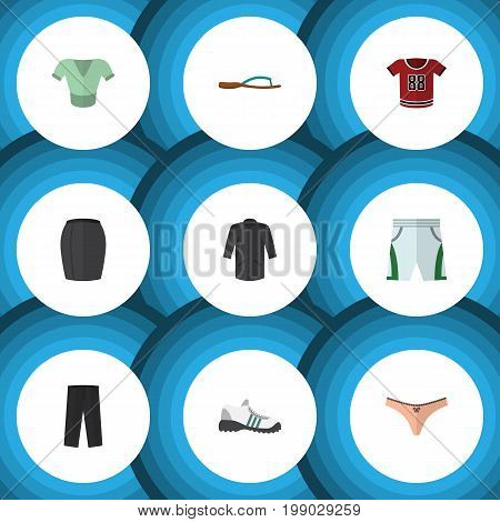 Flat Icon Clothes Set Of T-Shirt, Stylish Apparel, Sneakers And Other Vector Objects