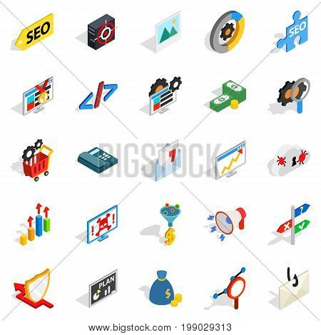 SEO development icons set. Isometric set of 25 seo development vector icons for web isolated on white background