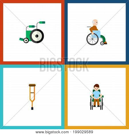 Flat Icon Cripple Set Of Stand, Handicapped Man, Equipment Vector Objects
