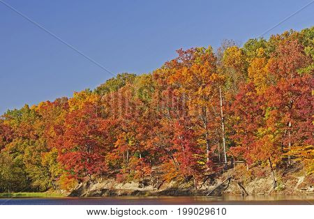 Fall Colors on Strahl Lake in Brown County State Park in Indiana