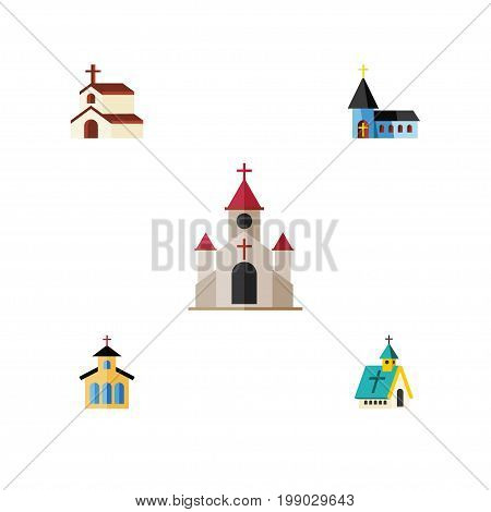 Flat Icon Church Set Of Christian, Catholic, Religion And Other Vector Objects