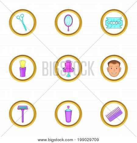 Barber shop things icons set. Cartoon set of 9 barber shop things vector icons for web isolated on white background