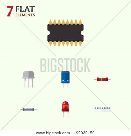 Flat Icon Electronics Set Of Resist, Memory, Recipient And Other Vector Objects