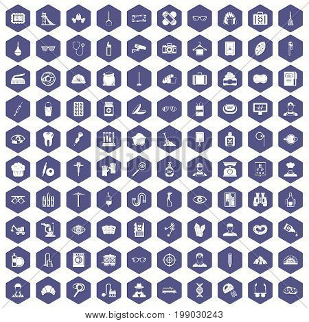 100 profession icons set in purple hexagon isolated vector illustration