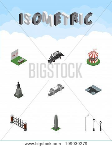 Isometric City Set Of Street Lanterns, Expressway, Dc Memorial And Other Vector Objects