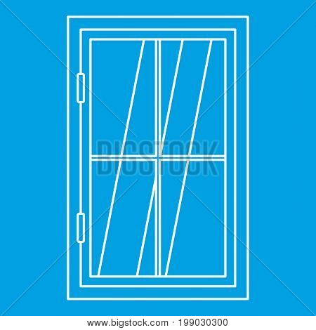 Closed window icon blue outline style isolated vector illustration. Thin line sign