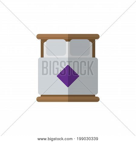 Mattress Vector Element Can Be Used For Mattress, Bed, Bedroom Design Concept.  Isolated Double Bed Flat Icon.