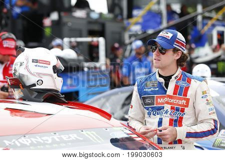 August 06, 2017 - Watkins Glen, New York, USA: Ryan Blaney (21) hangs out on pit road prior to qualifying for the I LOVE NY 355 at Watkins Glen International in Watkins Glen, New York.