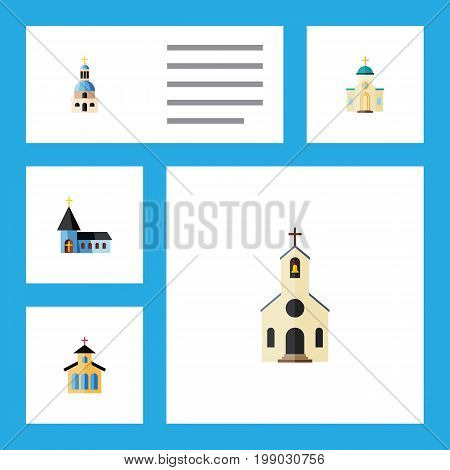 Flat Icon Building Set Of Religious, Church, Christian And Other Vector Objects
