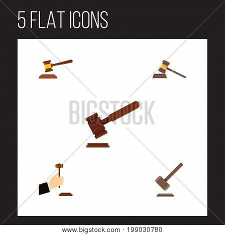 Flat Icon Court Set Of Justice, Tribunal, Court And Other Vector Objects