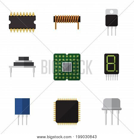 Flat Icon Device Set Of Display, Resist, Destination And Other Vector Objects