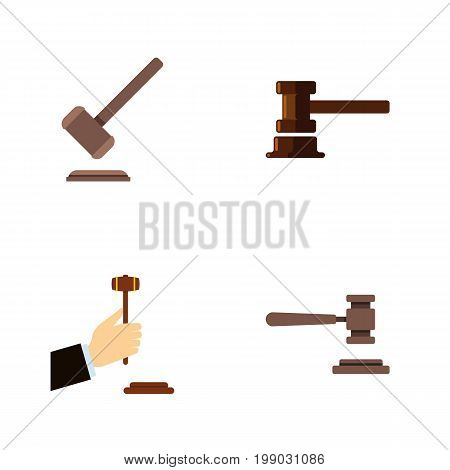Flat Icon Hammer Set Of Law, Government Building, Legal And Other Vector Objects