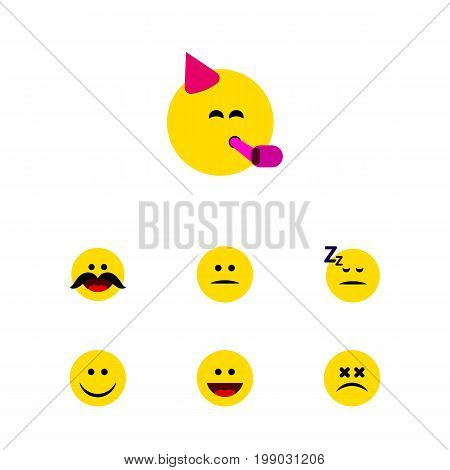 Flat Icon Emoji Set Of Party Time Emoticon, Asleep, Laugh And Other Vector Objects