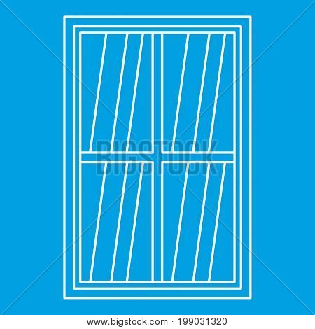 White rectangle window icon blue outline style isolated vector illustration. Thin line sign