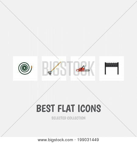 Flat Icon Dacha Set Of Tool, Barbecue, Hacksaw And Other Vector Objects