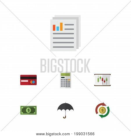 Flat Icon Incoming Set Of Greenback, Document, Calculate And Other Vector Objects