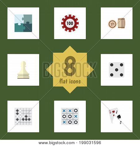 Flat Icon Play Set Of Poker, Jigsaw, Backgammon And Other Vector Objects