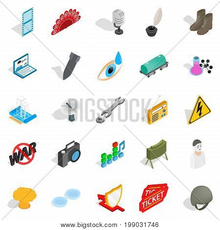 Technical work icons set. Isometric set of 25 technical work vector icons for web isolated on white background