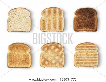 Set of six slices toast bread isolated on white background