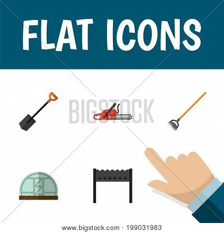 Flat Icon Farm Set Of Tool, Barbecue, Hothouse And Other Vector Objects