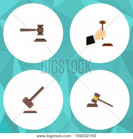 Flat Icon Hammer Set Of Tribunal, Law, Legal And Other Vector Objects
