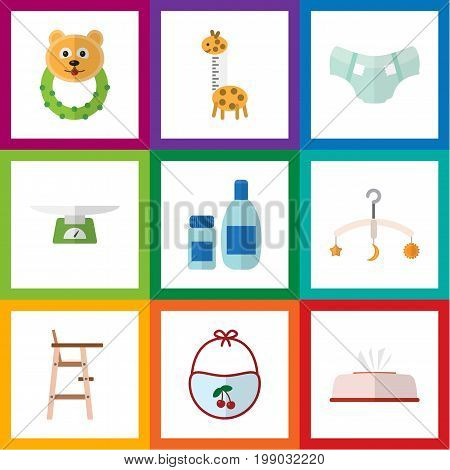 Flat Icon Kid Set Of Pinafore, Tissue, Mobile And Other Vector Objects