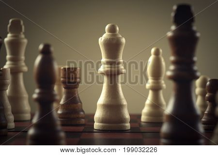 Wooden chess figures business concept strategy .
