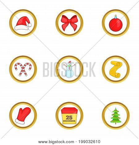 Christmas things icons set. Cartoon set of 9 christmas things vector icons for web isolated on white background