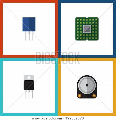 Flat Icon Electronics Set Of Receiver, Receptacle, Unit And Other Vector Objects