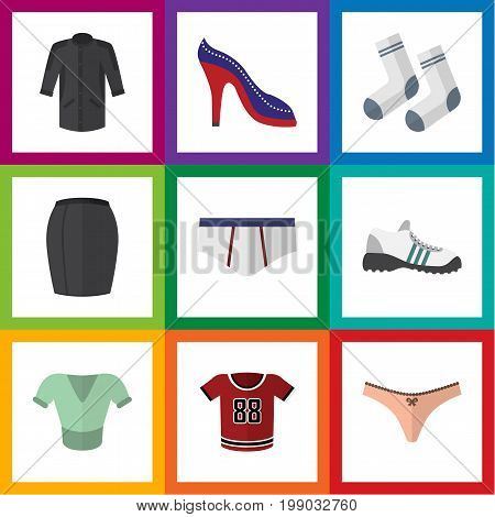 Flat Icon Garment Set Of Sneakers, Underclothes, Stylish Apparel And Other Vector Objects