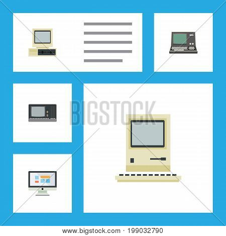Flat Icon Laptop Set Of Technology, Computer, Vintage Hardware And Other Vector Objects