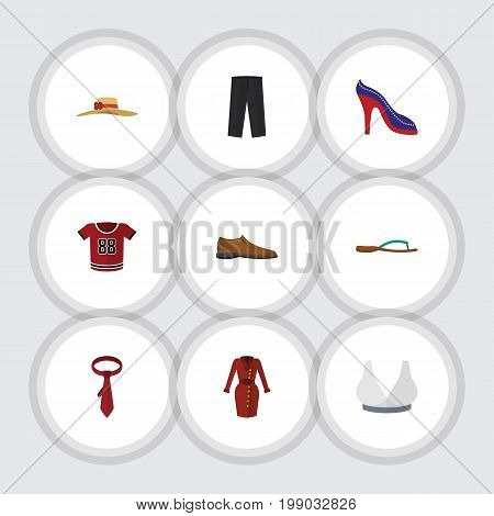 Flat Icon Clothes Set Of Brasserie, Cravat, Beach Sandal Vector Objects