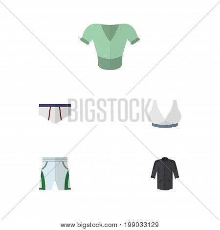 Flat Icon Dress Set Of Uniform, Casual, Underclothes And Other Vector Objects