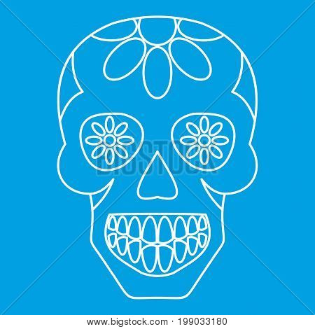Sugar skull, flowers on the skull icon blue outline style isolated vector illustration. Thin line sign