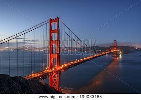 Golden Gate Bridge San Francisco California at sunrise