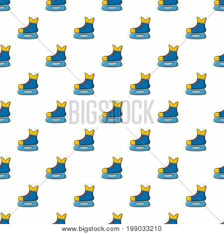 Ice hockey skates pattern in cartoon style. Seamless pattern vector illustration